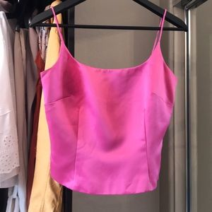 Ann Taylor satin pink crop top
